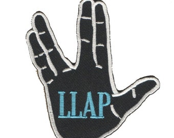 LLAP -Live Long and Prosper- Star Trek Inspired Patch With Vulcan Salute