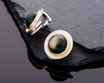 Handmade Earrings from 750 gold and 925 Silver with Obsidian / / gifts for you / / gifts for your best friend / / de singing jewelry