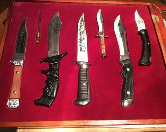 Bowie Knives Set of Six Stainless Steel Knives and Sharpener
