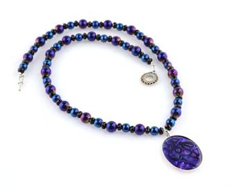 Purple Glass Necklace with a Purple Paua Shell Pendant