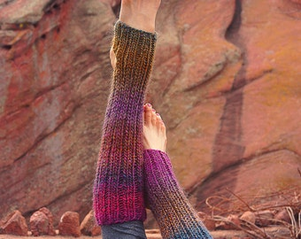 Knitted legwarmers, Leg warmers, Boot cuffs, Ombre leg warmers, Knee high, Yoga, Barre, Colorful socks, Boho, Hand knit