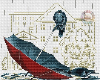 Cross stitch pattern PDF birds, Cross stitch pattern PDF umbrella, Cross stitch pattern PDF rain
