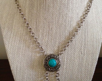 Chain Mail Antiqued Turquoise Pendant Necklace, Chainmail Necklace, Pendant Necklace, Unique Necklace, Turquoise Necklace