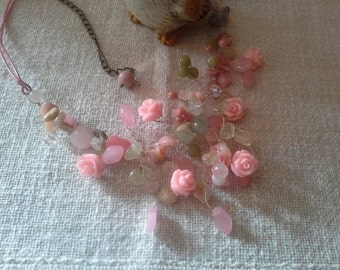 Sold Wedding necklace,  Natural jewelry, Statement necklace, Pink necklace, Bridel necklace, Vintage style, Romantic style, Rustic wedding