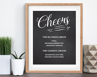 Chalkboard Cheers Wedding Sign, Printable Wedding Sign, Chalkboard Cheers Sign, Bride and Groom Drinks Sign, Wedding Decor, Instant Download