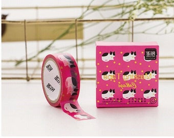 Pink Washi Tape with cat. 1.5cmx5m. Scrapbook tape. DIY tape.