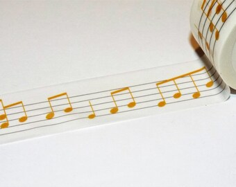 Gold Music Notes wide Japanese Washi Tape. Scrapbook. Stationery Masking Tape. Pretty tape.