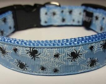 Spider Webs Dog Collar blue