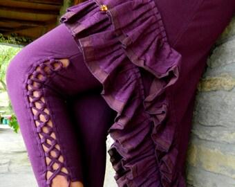 Yoga Leggings, Pixie wear, Tribal pants Boho clothes for women, Festival Leggings, Rave pants Psy clothing for her, Funky Legwear, Side lace