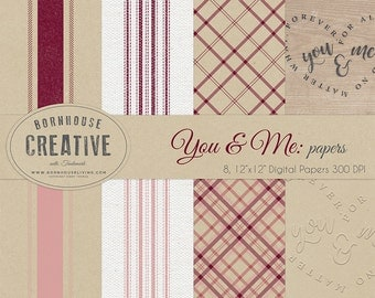 """Valentine's Day """"YouMe"""" Digital Download Scrapbook Papers & Tags"""