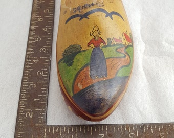 Hand painted farm woman on wooden clog shoe made in Holland