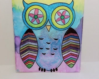 Rainbow Owl 8X10 watercolor painting on Canvas