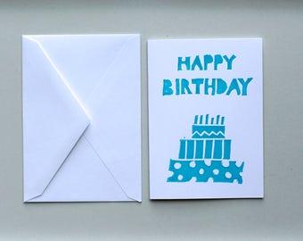 Birthday Cake Single Card and Envelopes Block Print, Handmade, cake designs, A1, 3.5 x 4 7/8, blue Blank,