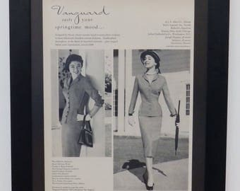 Evan Picone, Vanguard Fashions, Illustration, Vogue, 1955, Vintage Fashion Ad, Art and Collectible, Wall Decor, Retro