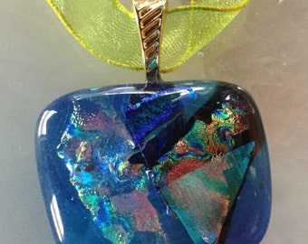 Blue Fused dichroic glass necklace. #36