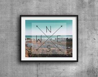 North, South, East, West, Graphic Print, Digital Print, Art Print
