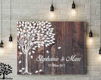 70 x 50 vintage tree guest book, wedding tree, wedding, wedding gift, canvas print