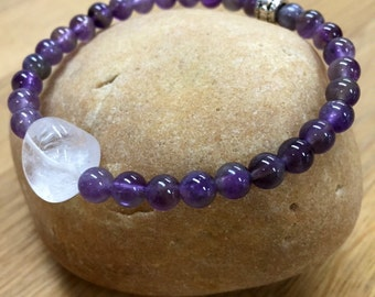 "Feng Shui Collection ""Wealth"" Amethyst & Quartz Stretch Bead Bracelet"