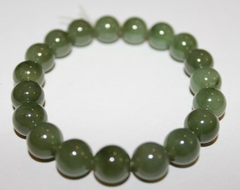 Canadian Nephrite Jade Bead Bracelet, gemstone bracelet, spiritual, power beads,