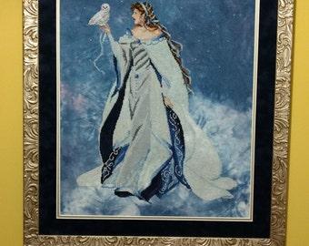 My Lady of the Snow - Cross-stitch Angel Needlework Fiber Art