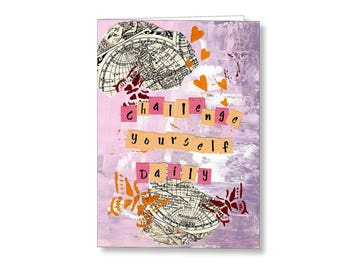 Challenge Yourself Daily Inspirational Card, Blank Note Cards, Fine Art Cards, Note Card Set, Greeting Cards, Gift Cards, Stationary Cards