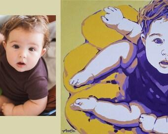 children's portrait, Mother, oil art, gift for him, gift for her, Pop-art portrait, Custom Portrait, oil painting
