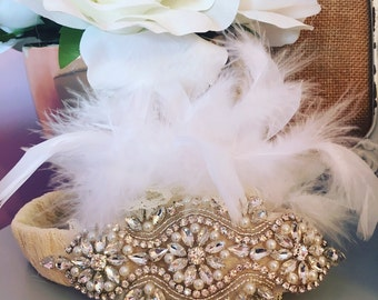Vintage inspired Baby girl pearl rhinestone feather bling headband photo prop