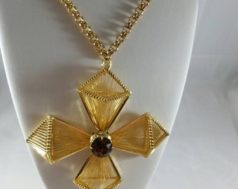 Huge HOBE' Maltese Cross Necklace