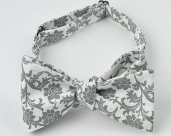 White and Gray Pattern Bowtie