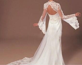 Bridal Wedding Long Bell Sleeve Keyhole Back Ivory Colour Lace Wedding Bolero Shrug Jacket