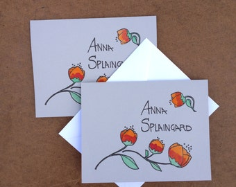 orange and red rose stationary cards, personalized