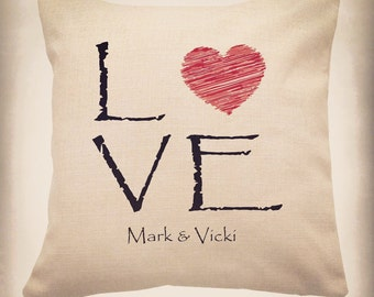 Personalised Love Printed Linen Cushion - Valentine's Day, Gift, Love,