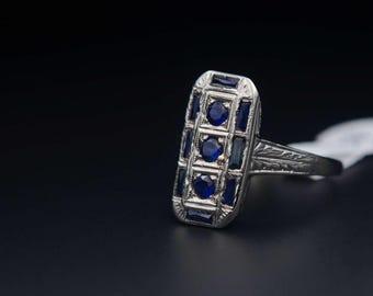 Sapphire Shield Ring