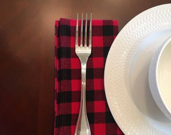 Buffalo Plaid Napkins, Lumberjack Plaid Napkins, Rustic Table Napkins, Picnic Cloth Napkins
