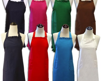 Customized Ruffled Cotton Aprons With Pockets  Variety Of Colors