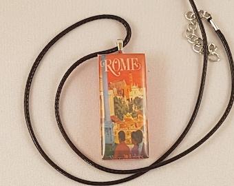 Vintage Rome travel poster domino resin pendant