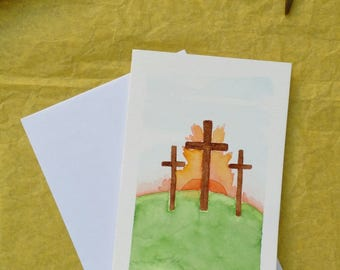 Hand-painted Easter cards // Crosses at Sunrises // watercolor