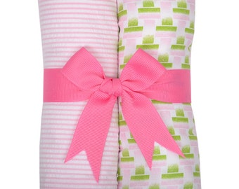 Monogrammed Watermelon Burp Cloth Set