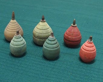 6 vintage small wooden spinning tops
