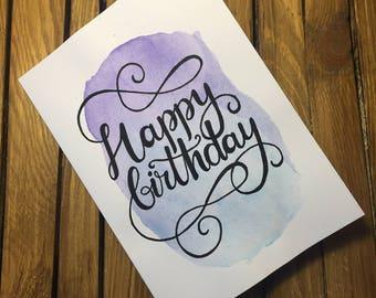 Happy Birthday - purple/blue wash