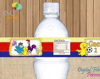 Lottie Dottie Chicken Water Bottle Label / Galinha Pintadinha / Gallina Pintadita / Etiqueta agua