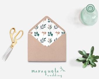Envelope Liner,Watercolor Eucalyptus leaves pattern,DIY Printable Envelope.Wedding envelopes,leaf,green colors,shades,digital Liner Download