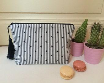 Cosmetic bag, makeup bag, pencil pouch, pencil bag, zipper pouch, navy stripes, birds