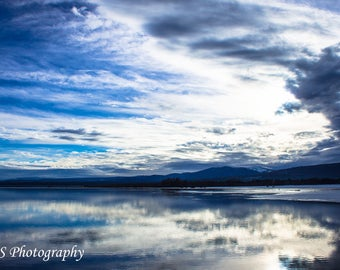 Blue Skies Ahead, Lake Photo, Landscape Photography, Clouds, Wall Art 8x12 Unframed