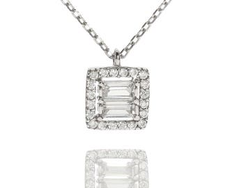 Deco Double Baguette Cubic Zirconia Necklace in Sterling Silver