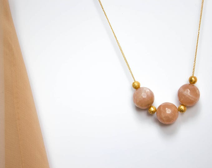 Faceted Sunstone and Gold Beads Necklace