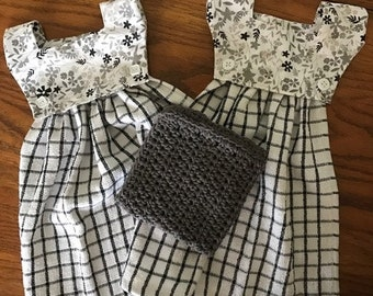 All Dressed Up Gray & White Dish Towel Set