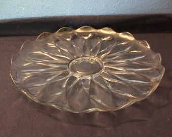 Vintage Heisey Glass Serving Platter, Petal Design
