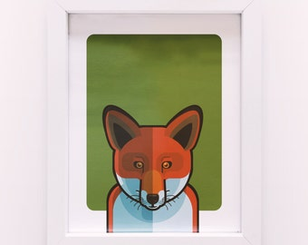 Kid Children's Nusery Animal Red Fox Illustration Poster Print A4 size