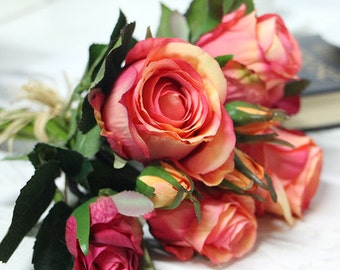 "Luxury Silk 9 Rose Bouquet in Orange Red 11"" Tall"